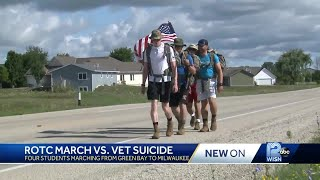 ROTC students march to raise awareness for veteran suicide