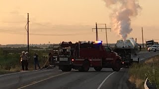 18-wheeler carrying liquid nitrogen burning between McGregor and Moody, deputies close road