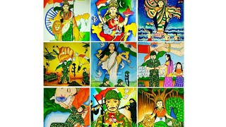 Few of my painting collections on Independence Day,Bharat Mata , Indian army