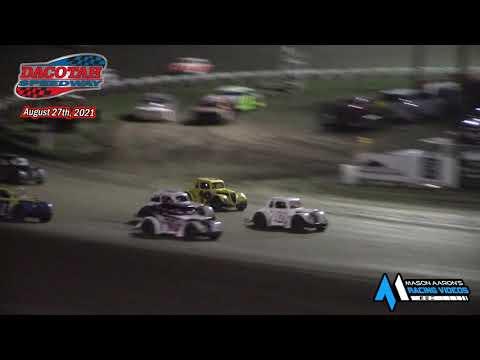 Dacotah Speedway INEX Legends A-Main (8/27/21) - dirt track racing video image