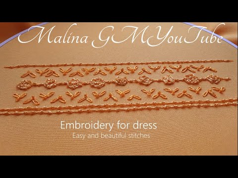 Yellow border line   Easy and Beautiful   Hand Embroidery