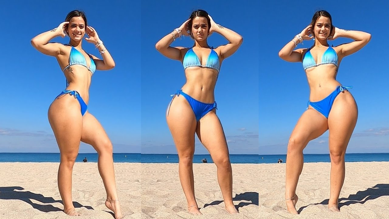 THICK Fitness Models Bikini Beach Workout in the Sun!