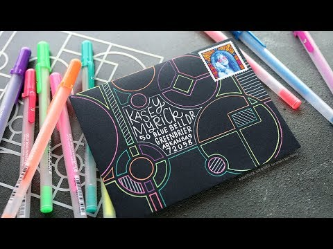 Mail Art with Stencil & Gel Pens