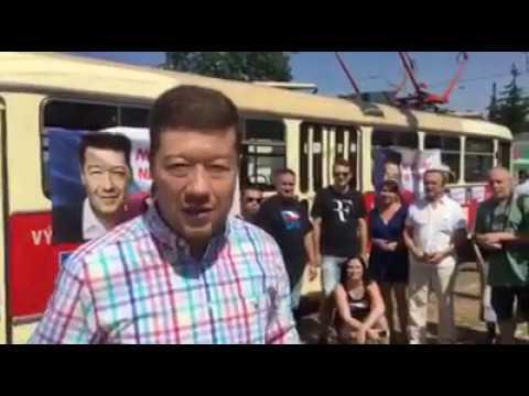 Tomio Okamura v SPD tramvaji