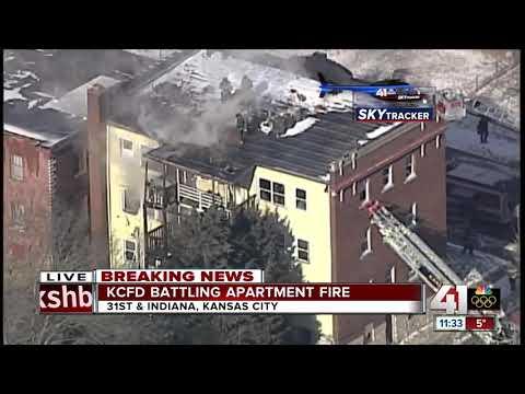 Crews working three-alarm apartment fire in east Kansas City