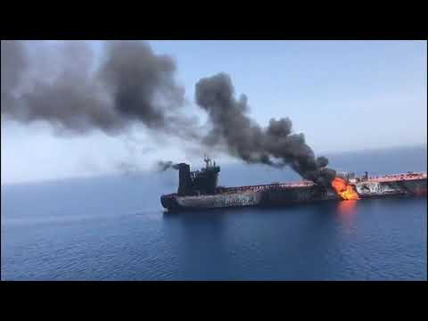 Aerial footage of tanker on fire in Gulf of Oman