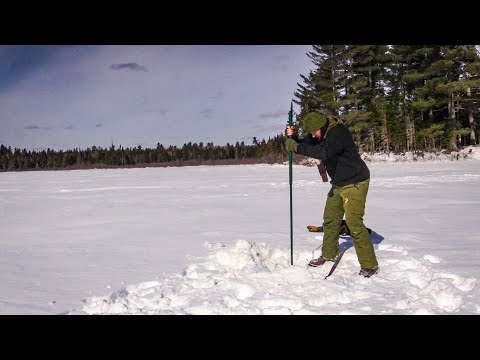 Winter Survival - Chipping 3 Foot Deep Hole in Ice in REAL TIME | Bushcraft