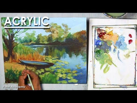 Acrylic Landscape Painting : A Boat Beside the River | step by step