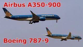 Cận cảnh bộ đôi máy bay lớn nhất của Vietnam Airlines ở Nội Bài.