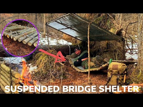 Solo Overnight Building a Suspended Bridge Shelter and Bacon Steak with Potatoes and Cheese