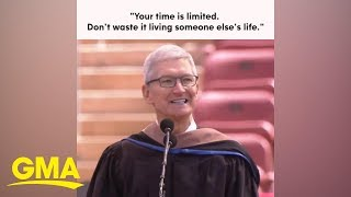 Tim Cook gives inspiring commencement speech at Stanford University  | GMA Digital