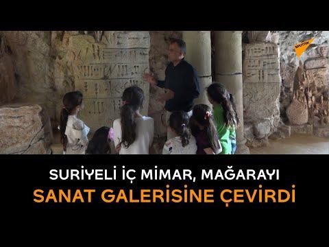 Suriyeli iç mimar, mağarayı sanat galerisine çevirdi