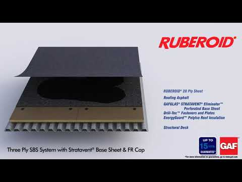 Ruberoid Three Ply SBS System with Stratavent Base Sheet & FR Cap by GAF