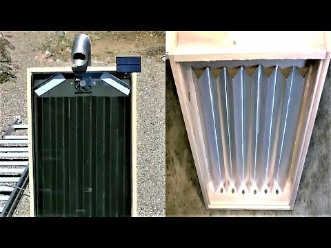 "DIY Solar Air Heater! - The Steel Slat ""Drip-Edge� Solar Heater! - New Design! 160F 74C in January!"