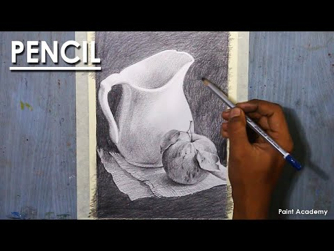 Still Life Drawing in Pencil : Composition on Vase and Apple | step by step shading methods