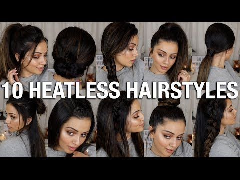 10 EASY BACK TO SCHOOL HEATLESS HAIRSTYLES ? 2 - 4 MINS EACH!!