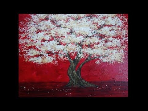 Acrylic Painting | White Blossom Tree Painting | Demonstration | time-lapse speed painting