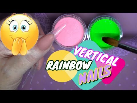 Neon Vertical Rainbow Acrylic Nails | ABSOLUTE NAILS