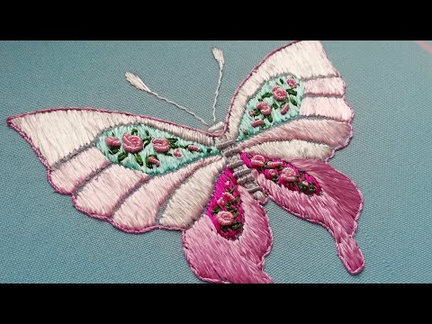 Hand Embroidery | Big Beautiful Butterfly | Satin Stitch