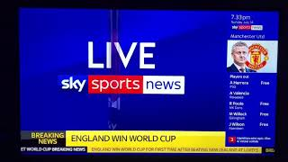 Live feed from Sky Sports at Lindow cc as England win World Cup