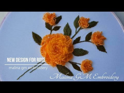 Wool Yellow Roses bouquet   Hand Embroidery    new idea for rose