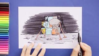 How to draw Apollo 11 Moon Landing