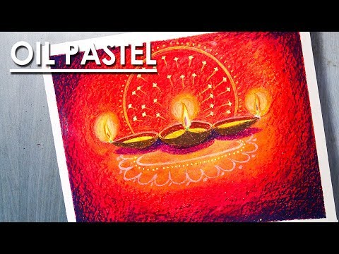 Beginners Diwali special Oil Pastel silhouette scratch Art Technique step by step