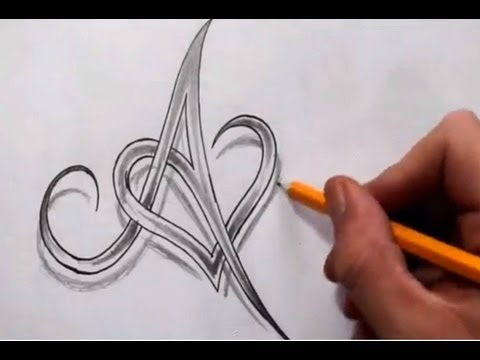 Initial A and Heart Combined Together - Celtic Weave Style - Letter Tattoo Design - default