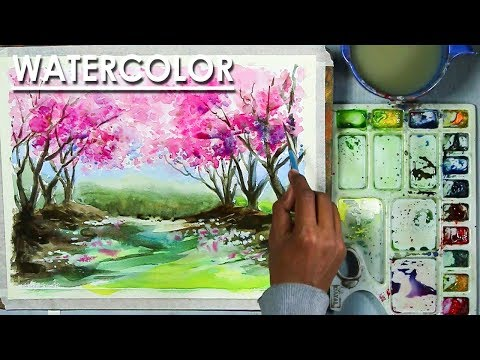 Spring season Cherry blossom tree painting in Watercolor