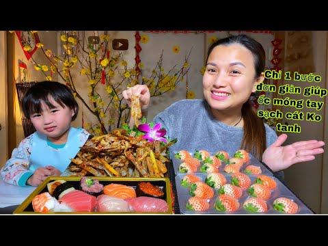 Dâu anh đào,sushi & ốc móng tay xào sả ớt sate cay cay hít hà hà #831