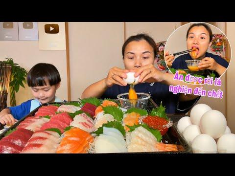 Ngon hết nấc mâm Sashimi chấm trứng sống nhớt nhợt nè he #933