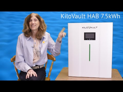 The KiloVault HAB battery is a 48V 7.5kWh lithium battery. It includes an LED state of charge indicator, and an LCD status display. The battery is capable of being charged at 125A, and discharged at 150A, with a 3 second surge of 500A.