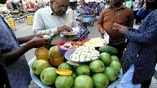 Bengali Street Food Dhaka Tasty Masala Pyara Guava Recipe at Tk 30 Roadside Green Fruits in BD