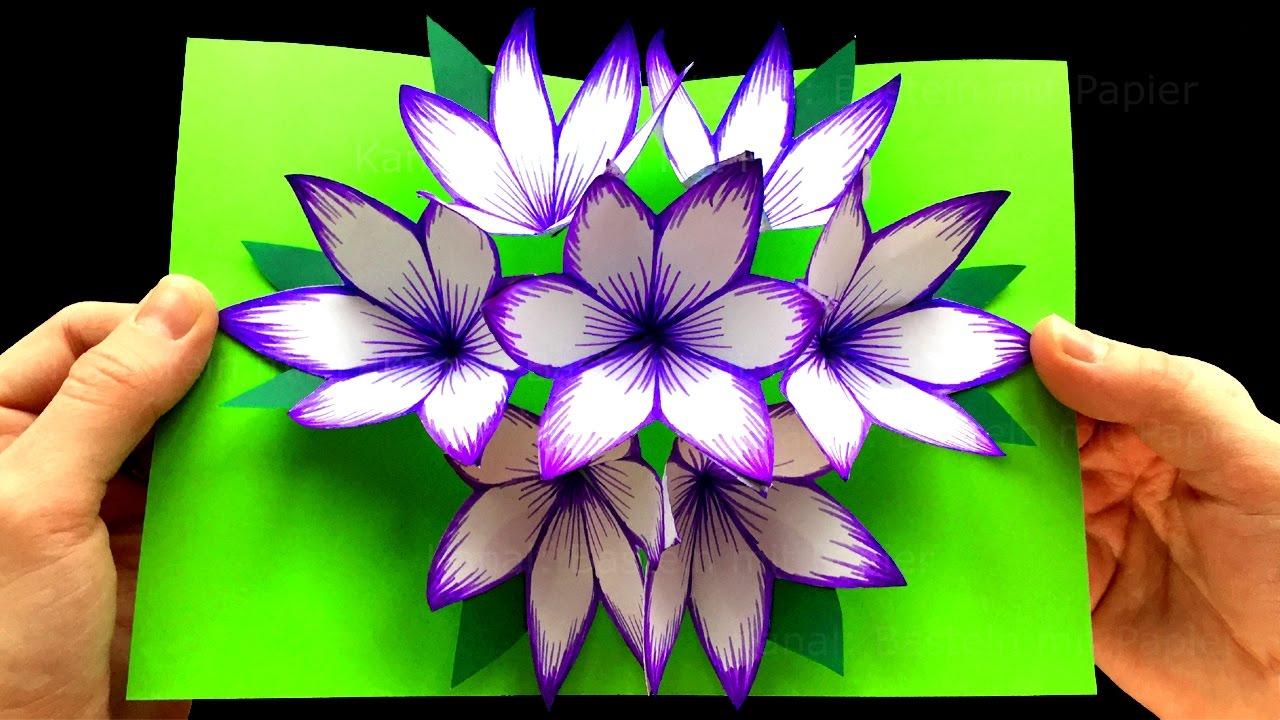 Basteln Mit Papier Diy Blumen Pop Up Karten 3d Diy