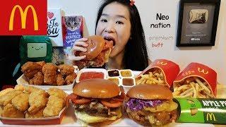 Huge McDonald's Premium Collection Feast! Buttermilk Crispy Chicken, Angus Beef Cheeseburger Mukbang
