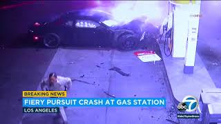 POLICE CHASE: High-speed pursuit ends in fiery crash at Palms gas station | ABC7