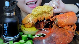ASMR COOKING 24K GOLDEN FRIED LOBSTER WITH MOZZARELLA CHEESE EATING SOUNDS   LINH-ASMR