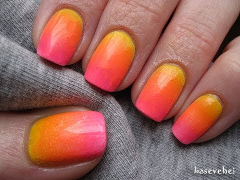 Sunset neon ombre nails - tutorial - Neonowe ombre - Basevehei - default