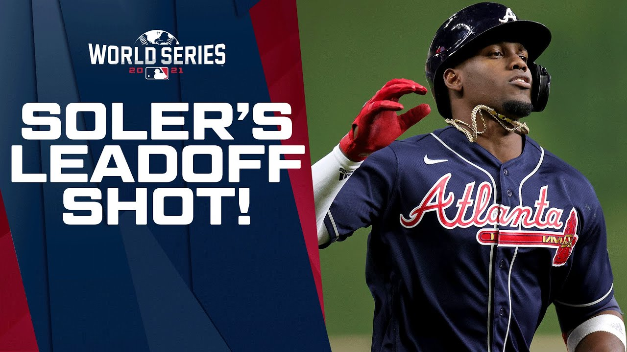 LEAD-OFF WORLD SERIES SHOT!!! Jorge Soler launches leadoff bomb, and then ATL adds another in 1st
