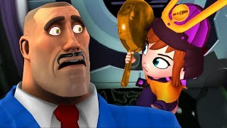 Using the TF2 Golden Frying Pan to defeat the Mafia in A Hat in Time