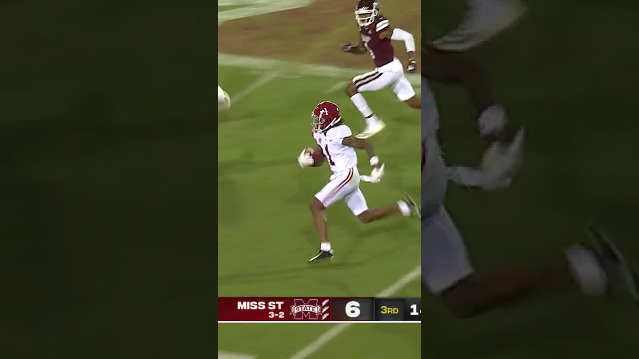 Bama's Jameson Williams turns on the jets for long TD 🔥 #shorts
