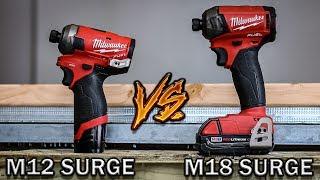 Best hydraulic Impact Driver Milwaukee Tool Test - M18 Fuel Surge VS M12 Fuel Surge