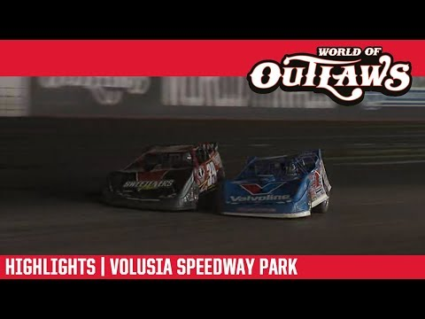 World of Outlaws Morton Buildings Late Model Series Feature Event Highlights from Volusia Speedway Park in Barberville, Florida on February 14th, 2019.  For more information and full results: www.woolms.com For extended race highlights: www.DirtonDirt.com - dirt track racing video image