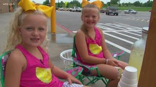Two girls sell lemonade to help Monroe County and Sweetwater schools