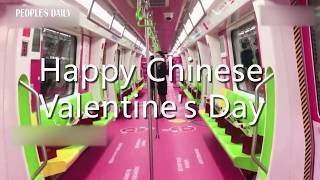 Subway staff place roses on the seat for passengers on Chinese Valentines Day in SW China's Guizhou.