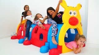 Masal, Öykü and mysterious friend Stacy played Hide and Seek - fun kids video