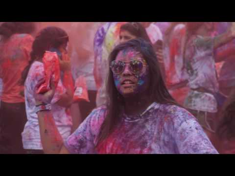 In a colorful celebration of spring, students gathered at Hooker Fields for the annual Holi Moli event.