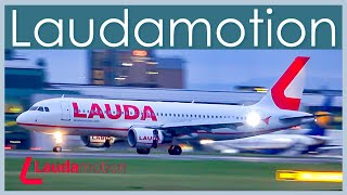 Laudamotion A320 landing at Manchester Airport