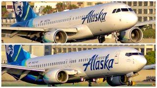 [4K] 2 ALASKA AIRLINES ARRIVALS AT LAX - PLANE SPOTTING - AUGUST 2019