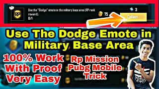 Use The Dodge Emote in the Military Base Area Mission Pubg Mobile